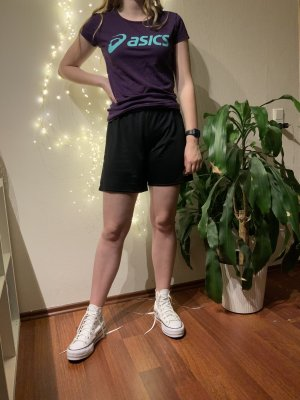 Asics T-shirt de sport violet foncé-bleu fluo