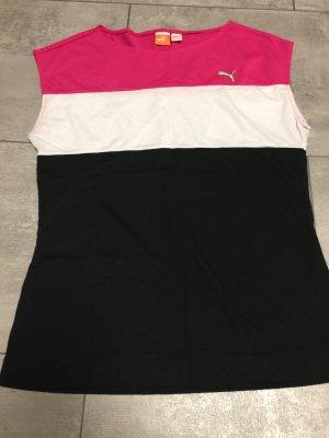 Sportshirt von Puma, Baumwolle, pink weiß schwarz