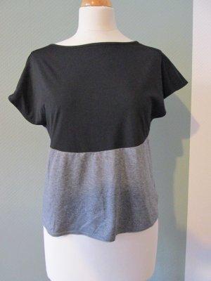 Sportshirt Yogashirt grau schwarz mit Schlitz xs/S H&M