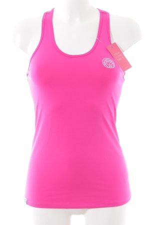 Sporttop pink-weiß Motivdruck sportlicher Stil