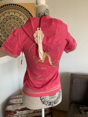 Sporty Jacke - Kapuze - Pink/Gold - Kurzarm - Größe S 34/36