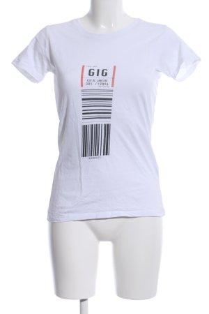 spread shirt T-Shirt weiß-schwarz Motivdruck Casual-Look