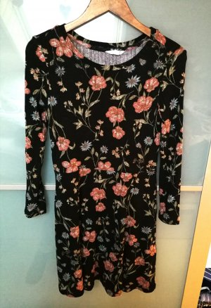 Springfield Blumenkleid Kleid schwarz mit Blumen Strickkleid