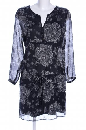 Springfield Blusenkleid schwarz-weiß abstraktes Muster Casual-Look