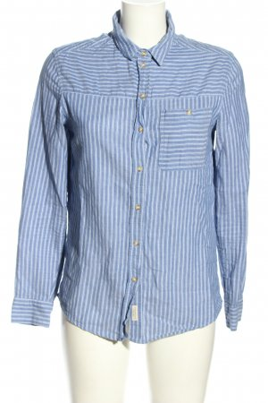 Springfield Camicia a maniche lunghe blu-bianco motivo a righe stile casual