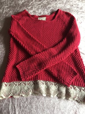 Springfield Crochet Sweater neon red