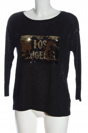 Springfield Boatneck Shirt black-gold-colored printed lettering casual look