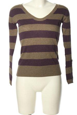 Springfield V-Ausschnitt-Pullover braun-lila Streifenmuster Casual-Look