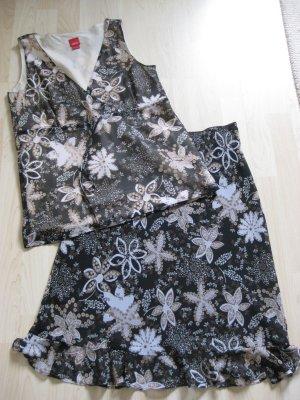 SPRIT, Top und Rock Kombi, Blumenprint schwarz-beige-khaki, Größe 38
