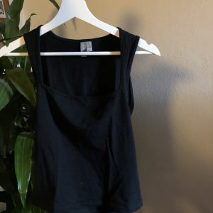 square neck top in schwarz