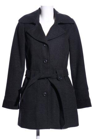 Manteau court noir moucheté style décontracté