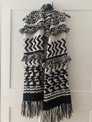 H&M Bufanda de punto negro-blanco