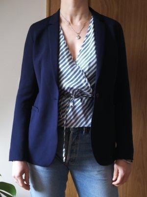 ST. EMILE Blau Blazer Jacke DE 36 (IT 42) Langarm Klassisch