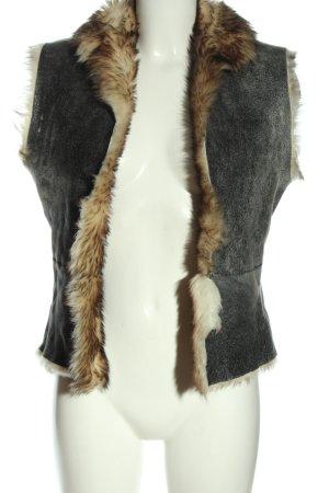 St. emile Fur vest light grey-cream flecked casual look