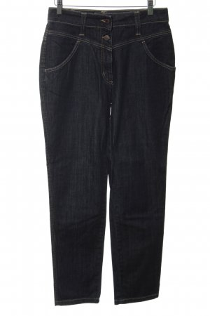 St. emile Hoge taille jeans staalblauw-donkerblauw gestippeld casual uitstraling