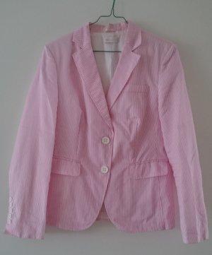 St. Emile Jacke Blazer rosa weiß gestreift Baumwolle Gr. 42