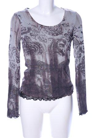 St. emile Langarm-Bluse lila-hellgrau abstraktes Muster Casual-Look