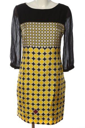 St. emile Langarmkleid schwarz-blassgelb grafisches Muster Elegant