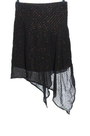 St-martins Minifalda negro-color bronce estampado a rayas look efecto mojado