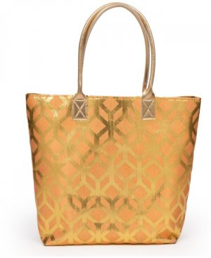 St. Tropez Beach Bag/Strandtasche - Orange/Gold - by Powder