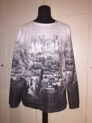 Stadtprint Sweater mit 3D-Gittermuster