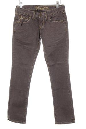 Staff & Co Straight-Leg Jeans bronzefarben Schriftzug gestickt klassischer Stil