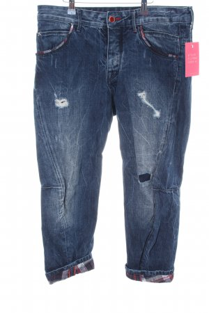 Staff Jeans 3/4 Jeans Karomuster Casual-Look