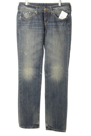 Staff Jeans Straight-Leg Jeans graublau-wollweiß Used-Optik