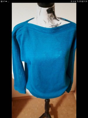 Unbekannte Marke Pullover all'uncinetto blu acciaio
