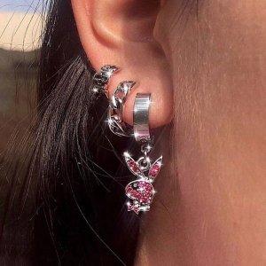 Stainless steel  Ohrringe klein Kreolen Playboy silber rosa pink hoops