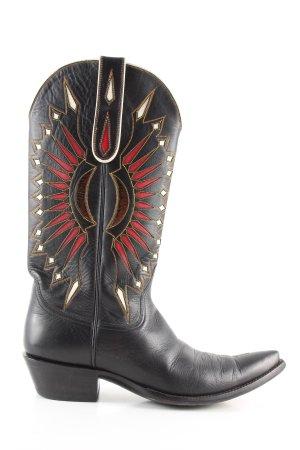 Boots western noir-rouge style décontracté