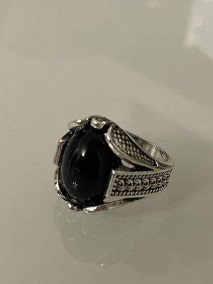 Bague incrustée de pierres argenté-noir