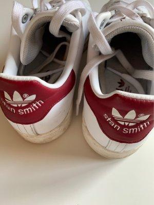adidas stan smith Basket à lacet blanc-bordeau