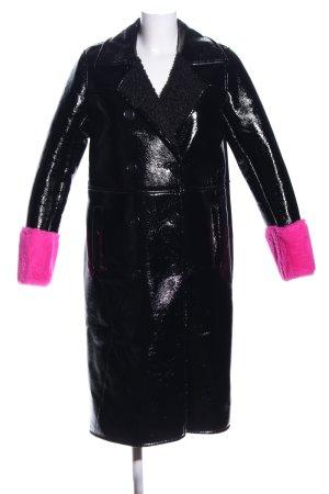 Stand Wintermantel schwarz-pink Casual-Look