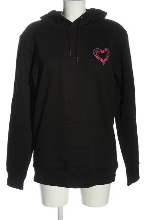Stanley & Stella Kapuzensweatshirt schwarz-lila Schriftzug gedruckt Casual-Look