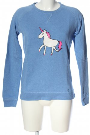 Stanley & Stella Sweatshirt blau-weiß Motivdruck Casual-Look
