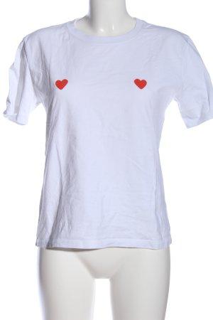 Stanley & Stella T-Shirt weiß-rot Motivdruck Casual-Look