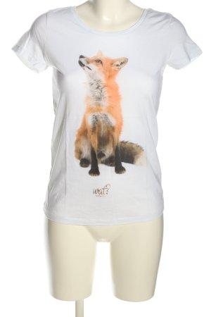 Stanley & Stella T-Shirt weiß-hellorange Motivdruck Casual-Look