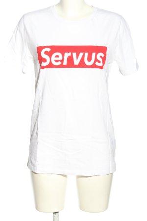Stanley & Stella T-Shirt weiß-rot Schriftzug gedruckt Casual-Look