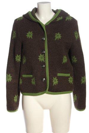 Stapf Giacca di lana marrone-verde stampa integrale stile casual