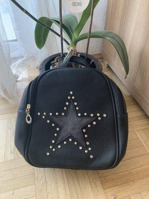 STAR! LederLook Rucksack - Klein - Black - StrassSteinchen
