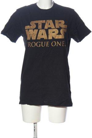 Star Wars T-Shirt schwarz-goldfarben Schriftzug gedruckt Casual-Look