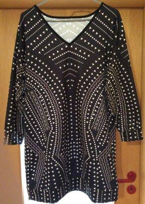 Lange blouse wit-zwart Katoen