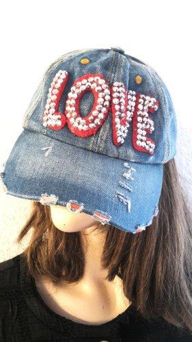 Statement Blogger Vintage Jeans denim destroyed look Base Cap Love Glitzersteine