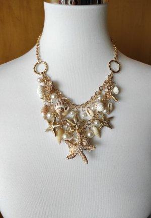 Statement Collier Kette mit Muscheln sea shells Seestern starfish Perlen Sommer