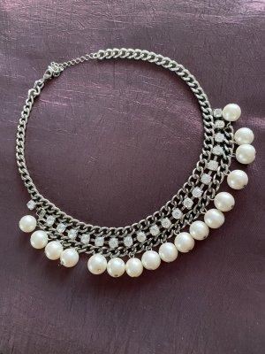 Statement Collier mit Perlen und Straßsteinchen