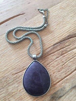 Cadena de cuentas color plata-violeta oscuro