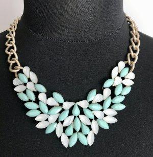 Vero Moda Statement Necklace white-turquoise metal