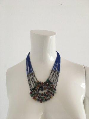 Statement Kette echte Steine bunt blau Farbe collier Halskette