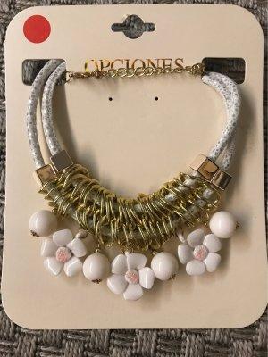 Statement Kette Halskette gold Weiß mit Blumen Hippie
